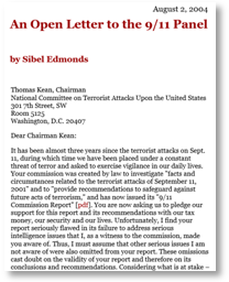 Sibel Edmonds Open letter to Chairman Thomas Kean August, 2, 2004