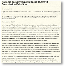 National Security experts open lettter to congress regarding testimony omitted from 911 commission report